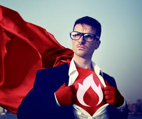 Strong Superhero Businessman Fire Challenge Concept