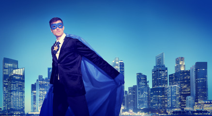 Strong Powerful Business Superhero Cityscape Concept