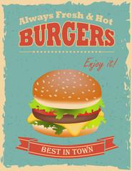 Vintage Burgers poster