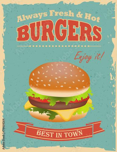 Fotobehang Vintage Poster Vintage Burgers poster
