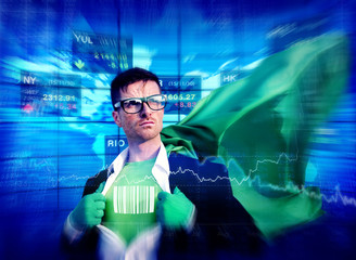 Barcode Superhero Success Professional Empowerment Stock Concept