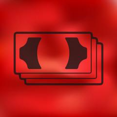 money icon on blurred background