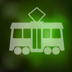 tram icon on blurred background