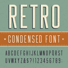 Retro alphabet vector condensed font. Scratched background