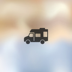 motorhome icon on blurred background