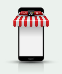 Mobile phone. Mobile store concept with awning.