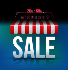 Midnight sale banner awning.
