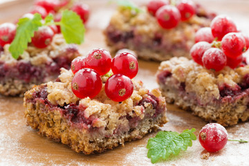 berry tart with fresh red currants
