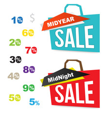 Sale bag icons with number percent