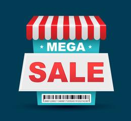 Mega Sale shop banner design with barcode.