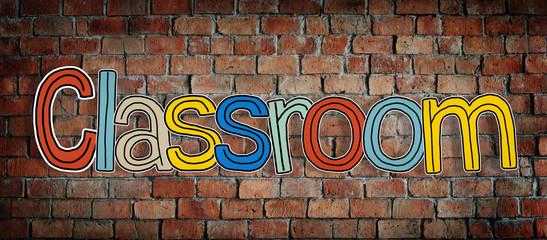 Classroom Word Brick Wall Study Student Concept