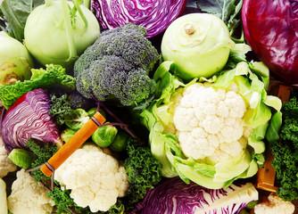 Background of healthy fresh cruciferous vegetables