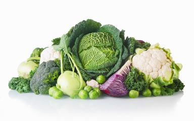 Newly Harvest Healthy Veggies on White Background