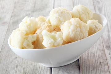 Bowl of healthy fresh steamed cauliflower