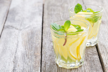 refreshing mint lemonade on a wooden table, space for your text