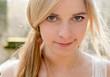 Leinwanddruck Bild - cute blonde woman outdoor