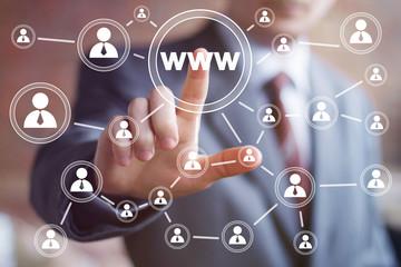 Businessman pushing virtual web button www icon