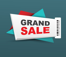 Grand sale banner with barcode.
