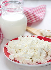 Fresh cottage cheese and milk