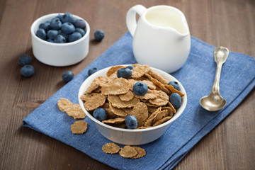 wholegrain flakes with blueberries and milk