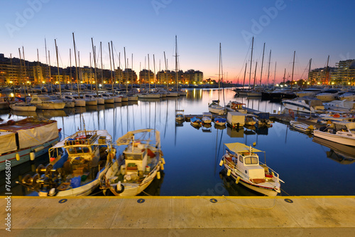 Foto op Canvas Athene Fishing boats and yachts in Zea Marina in Athens, Greece.