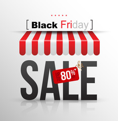 "Black Friday sale poster with tag banner ""up to 80""."