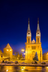 Zagreb Cathedral with Archbishop's Palace. Croatia.