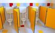 Leinwanddruck Bild - three little water closed of a kindergarten for children
