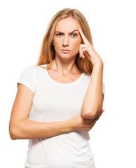 Thinking angry female on white