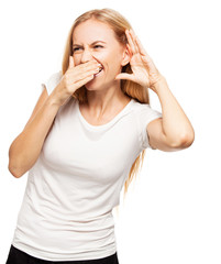 Laughing woman eavesdropping