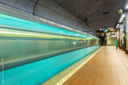 metro station with arriving train - 76466815