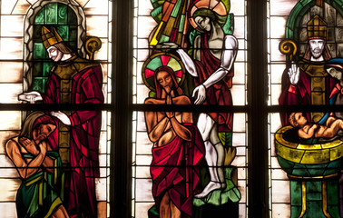 France, stained glass window in Poissy collegiate church