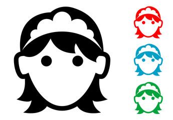 Pictograma icono doncella de hotel en varios colores