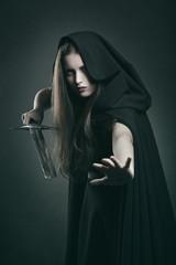 Beautiful dark woman in fighting position