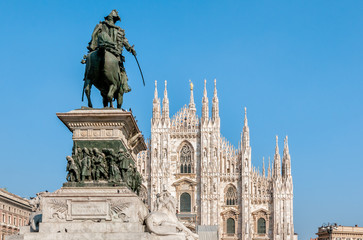 Milan Cathedral Dome facade with statue of Vittorio Emanuele II