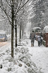 family walks in the city  sidewalk during a copious snowfall