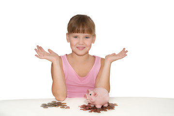 Girl with piggy bank showing copy space