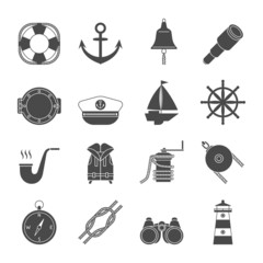 Black and white yachting icons set. Anchor, binocular, ropes