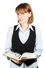 Teacher. Portrait of girl with a book