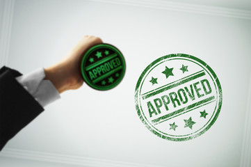 Approve a document with a green stamp
