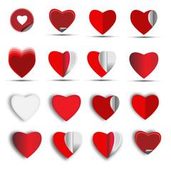 Hearts icon set - Illustration