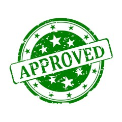 """Round green stamp with the word """"approved"""" - illustration"""