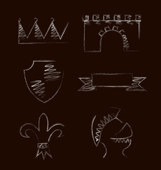 Design of heraldic symbols and elements. Vector illustration