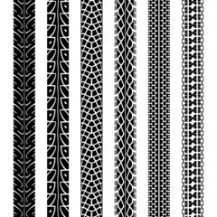Collection motorcycle tire tracks, seamless texture