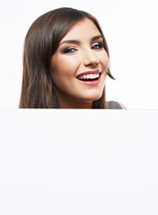 Close up business woman portrait. White background female portr