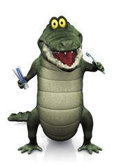 Cartoon crocodile brushing his teeth.