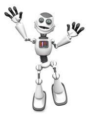 White smiling cartoon robot jumping for joy.