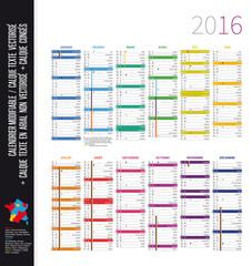 Calendrier 2016 (Congés, lunes, n° semaine)