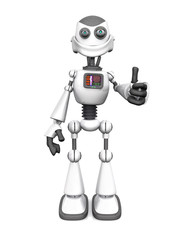 White smiling cartoon robot doing a thumbs up.