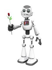 White smiling cartoon robot holding rose.